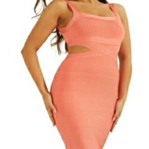 Guess alessia salmon color cut out bandage dress